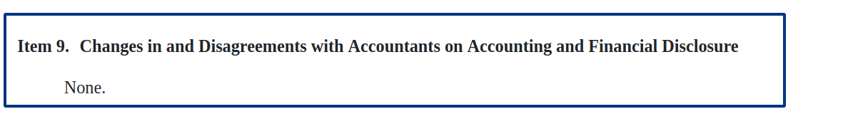 10-K: good-looking Changes in and Disagreements with Accountants on Accounting and Financial Disclosure